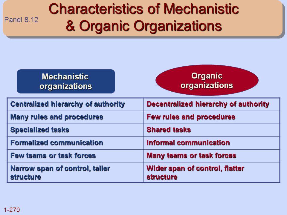 Characteristics of Mechanistic & Organic Organizations