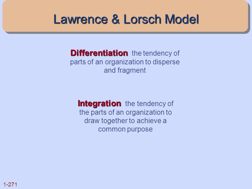 Lawrence & Lorsch Model