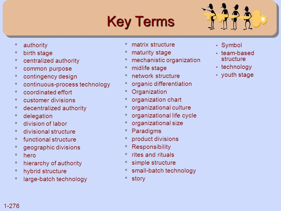 Key Terms authority birth stage centralized authority common purpose