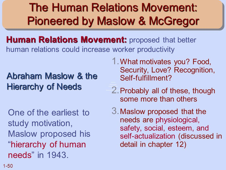 The Human Relations Movement: Pioneered by Maslow & McGregor
