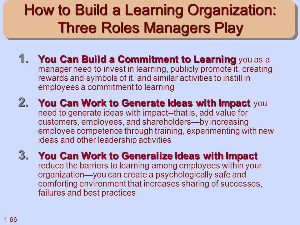 How to Build a Learning Organization: Three Roles Managers Play
