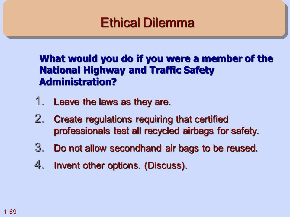 Ethical Dilemma What would you do if you were a member of the National Highway and Traffic Safety Administration