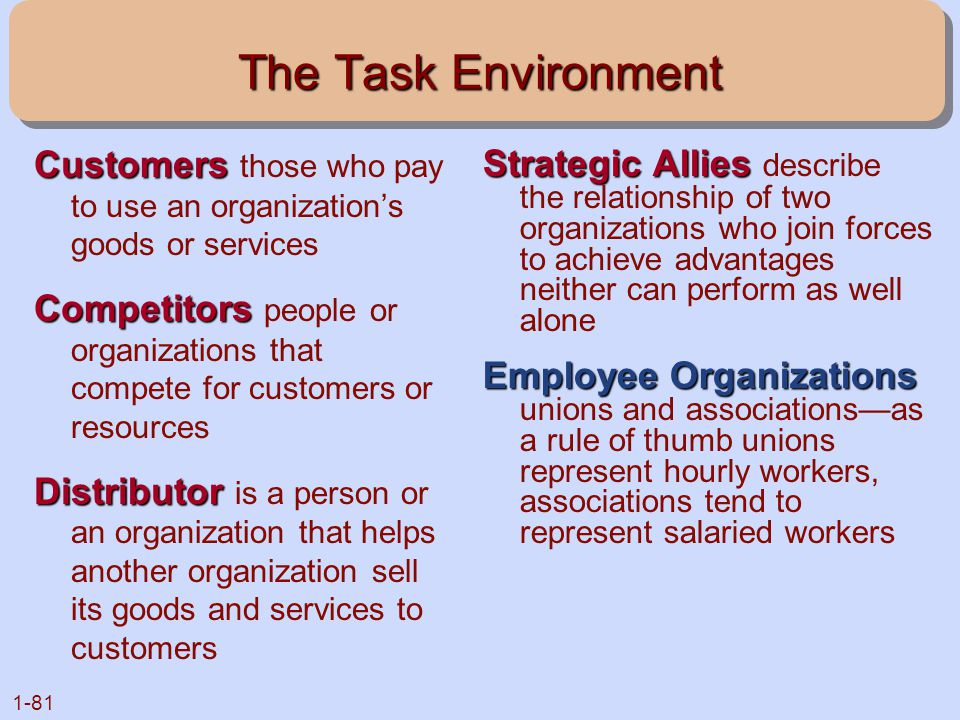 The Task Environment Customers those who pay to use an organization's goods or services.