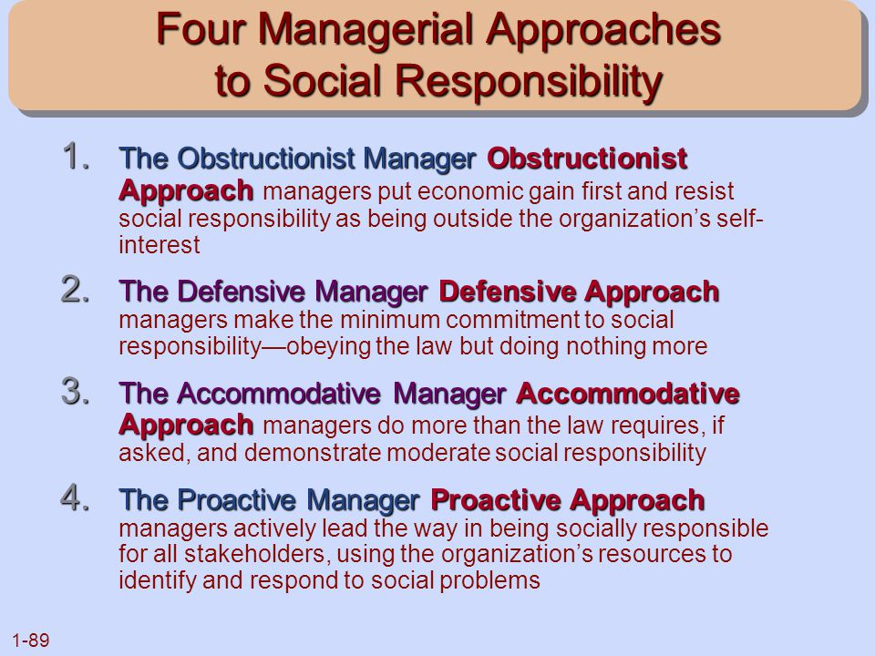 Four Managerial Approaches to Social Responsibility