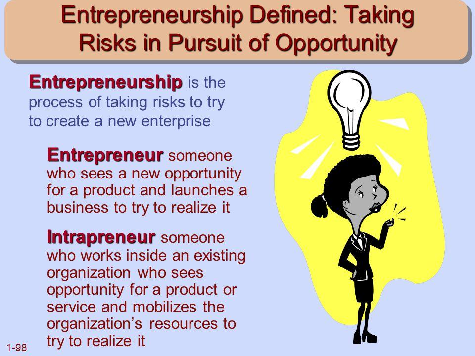 Entrepreneurship Defined: Taking Risks in Pursuit of Opportunity