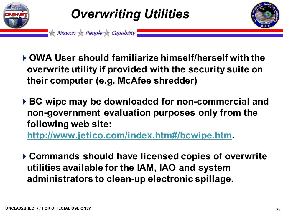 Overwriting Utilities