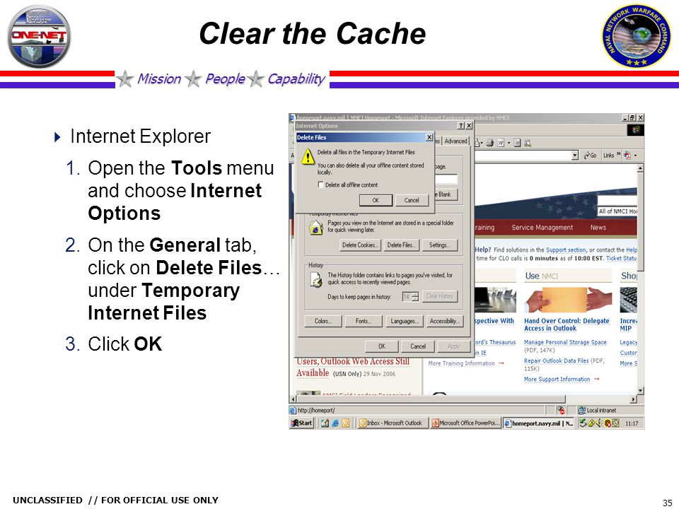 Clear the Cache Internet Explorer