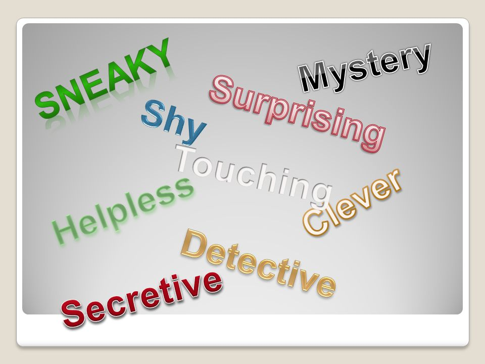 Mystery Sneaky Surprising Shy Touching Clever Helpless Detective Secretive