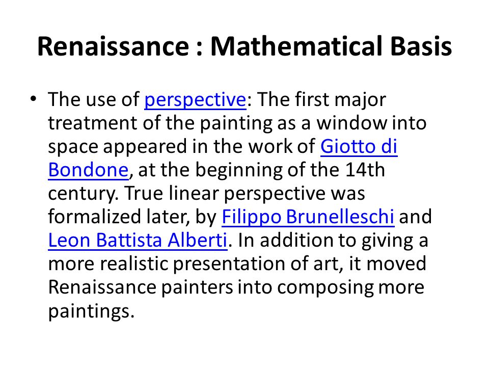Renaissance : Mathematical Basis