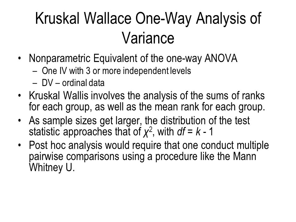 Kruskal Wallace One-Way Analysis of Variance
