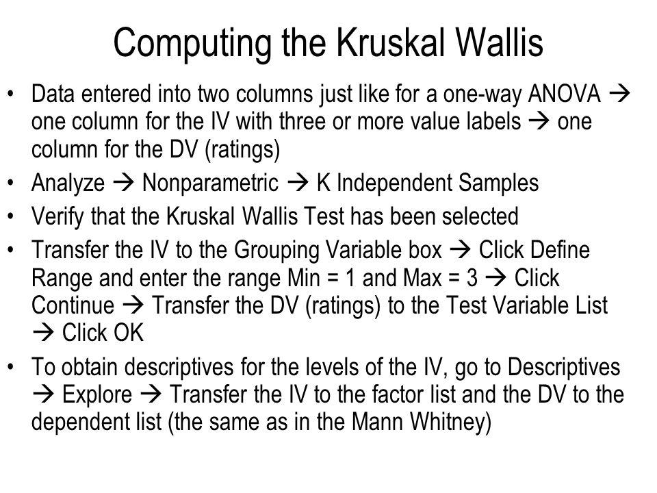 Computing the Kruskal Wallis