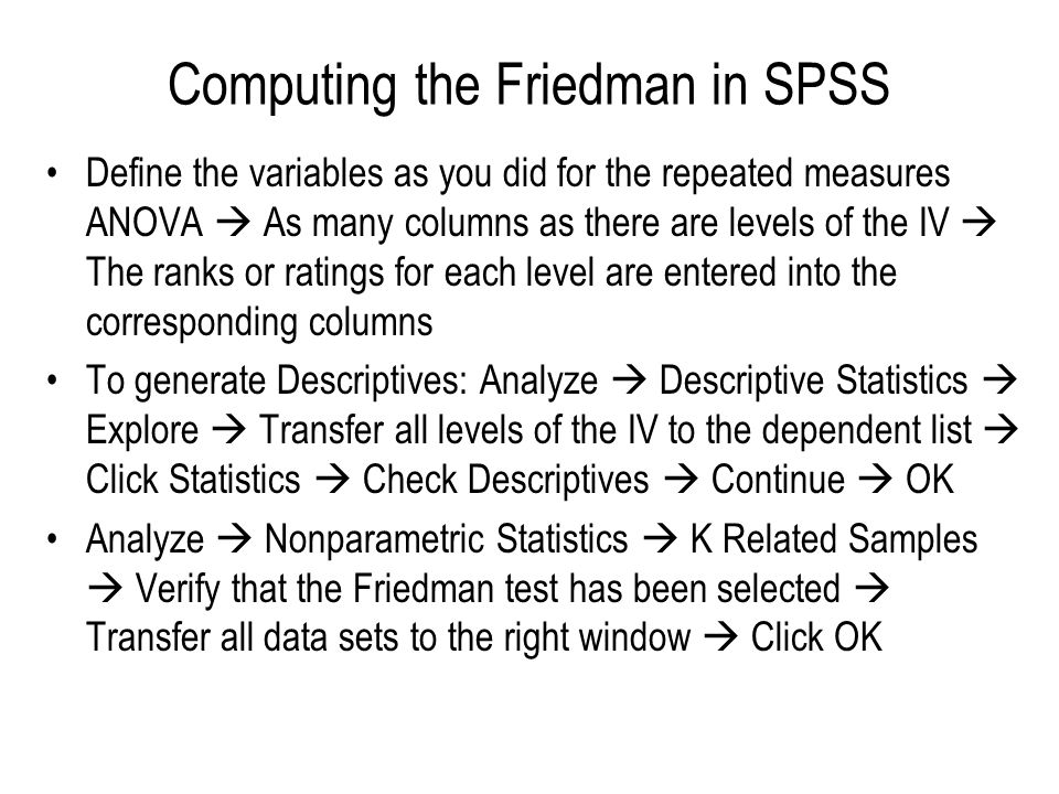 Computing the Friedman in SPSS