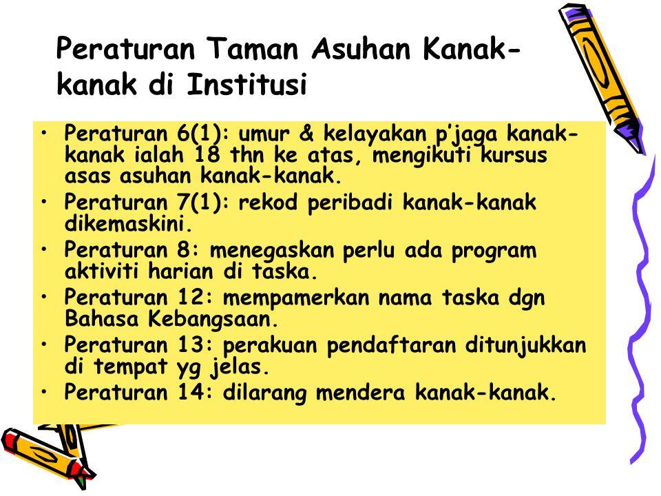 Peraturan Taman Asuhan Kanak-kanak di Institusi