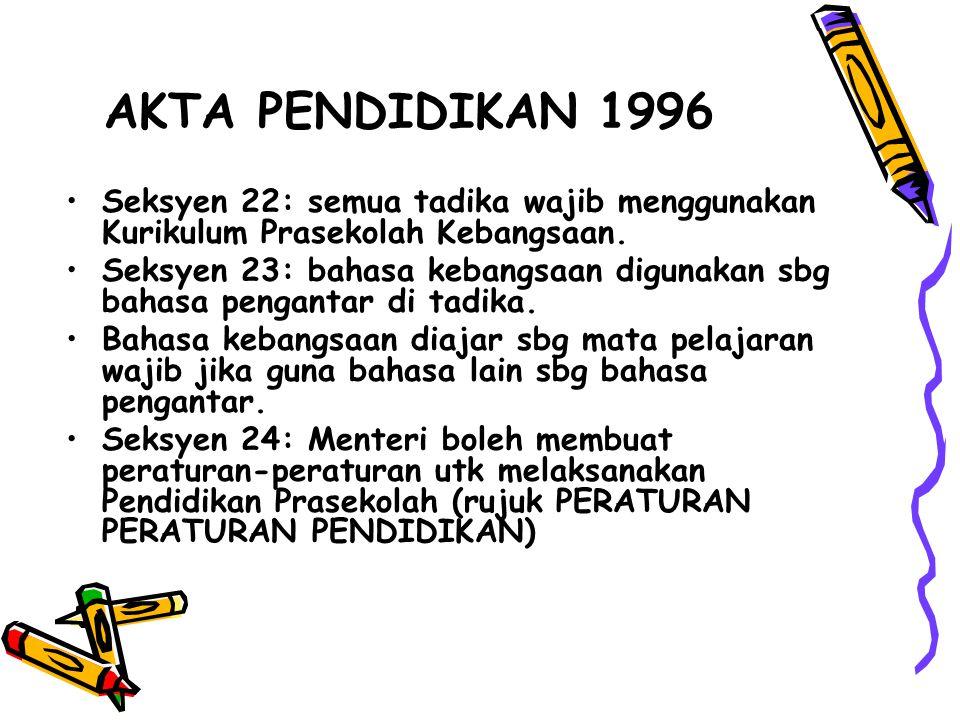 AKTA PENDIDIKAN 1996 Seksyen 22: semua tadika wajib menggunakan Kurikulum Prasekolah Kebangsaan.
