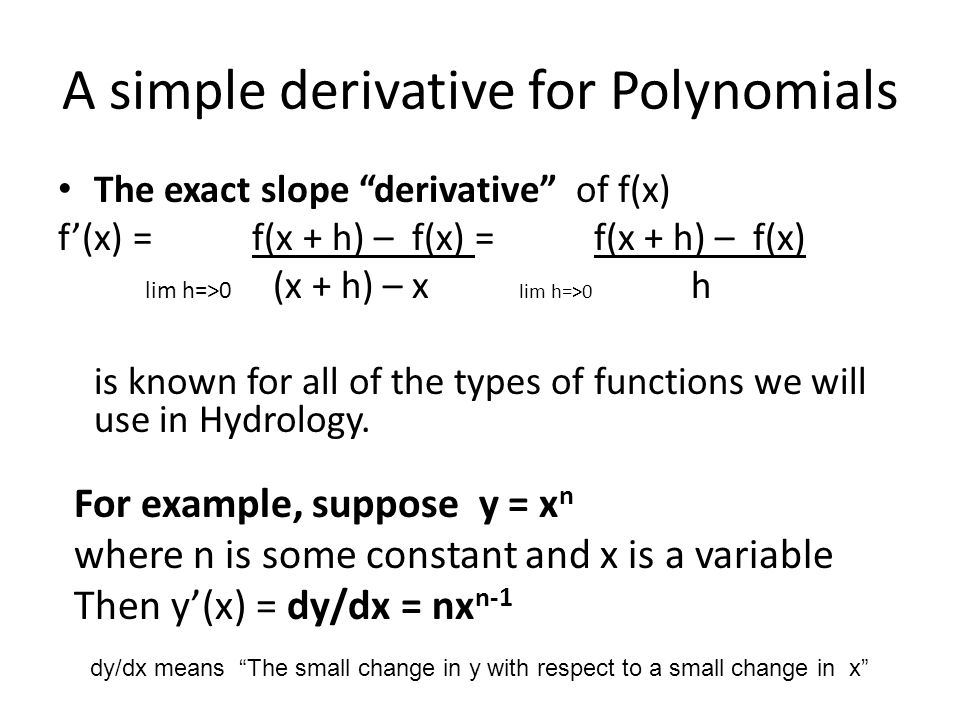 A simple derivative for Polynomials