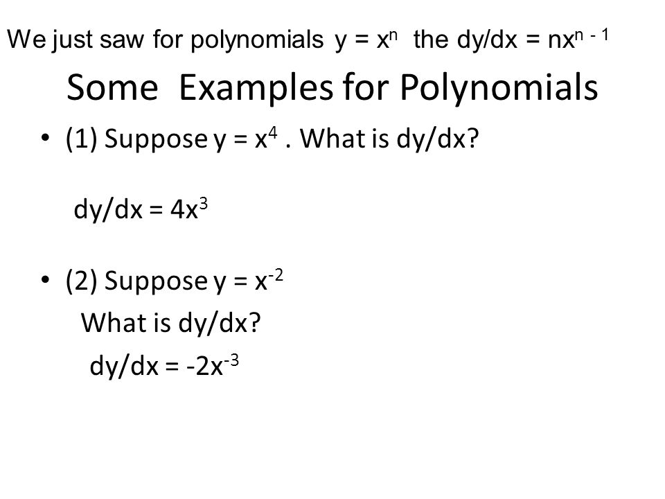 Some Examples for Polynomials