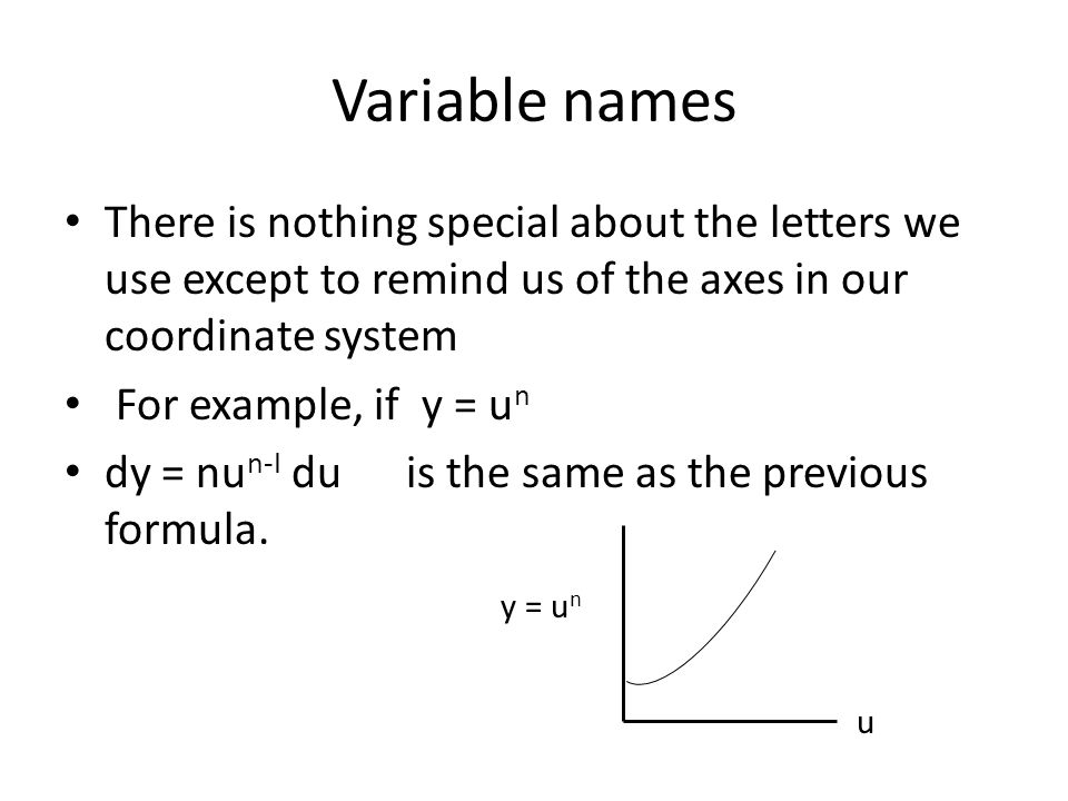 Variable names There is nothing special about the letters we use except to remind us of the axes in our coordinate system.