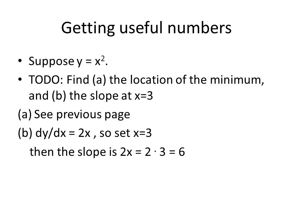 Getting useful numbers