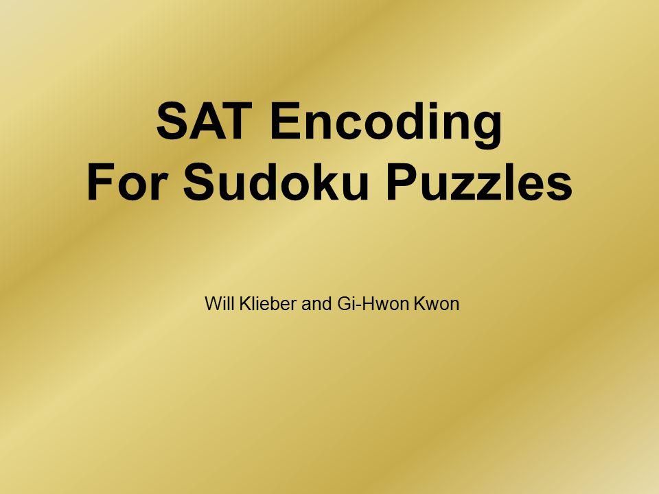 SAT Encoding For Sudoku Puzzles