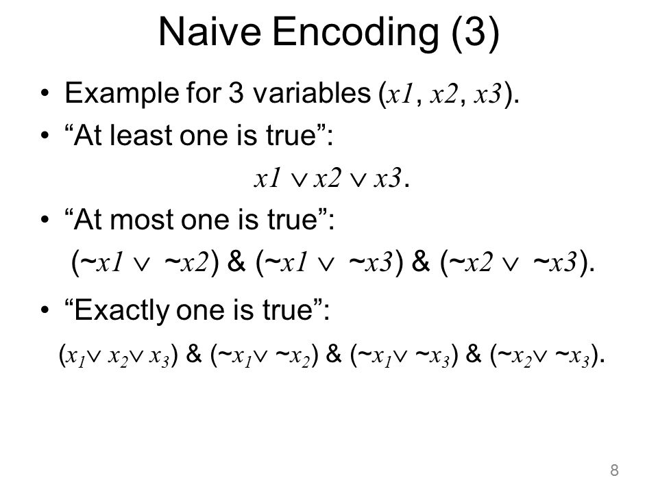Naive Encoding (3) Example for 3 variables (x1, x2, x3).