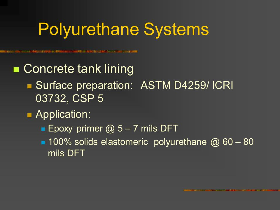 Polyurethane Systems Concrete tank lining