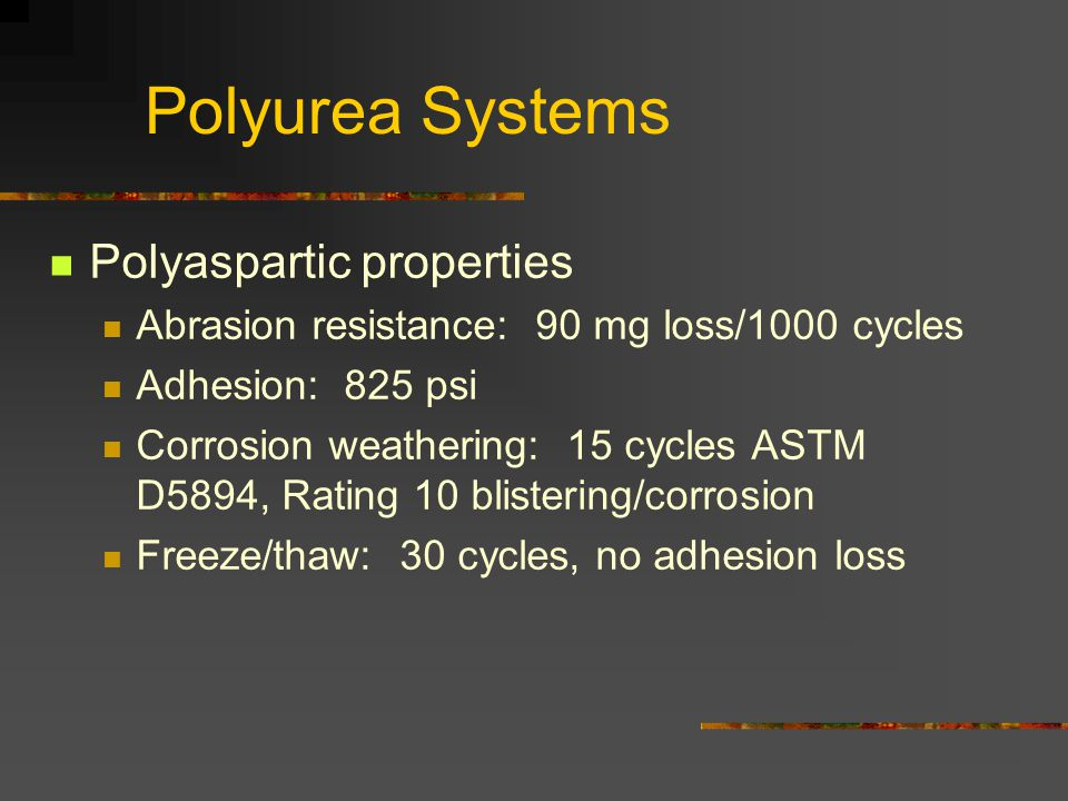 Polyurea Systems Polyaspartic properties
