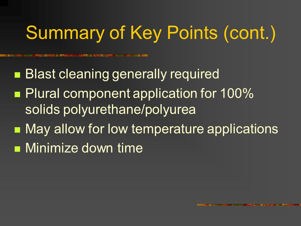Summary of Key Points (cont.)