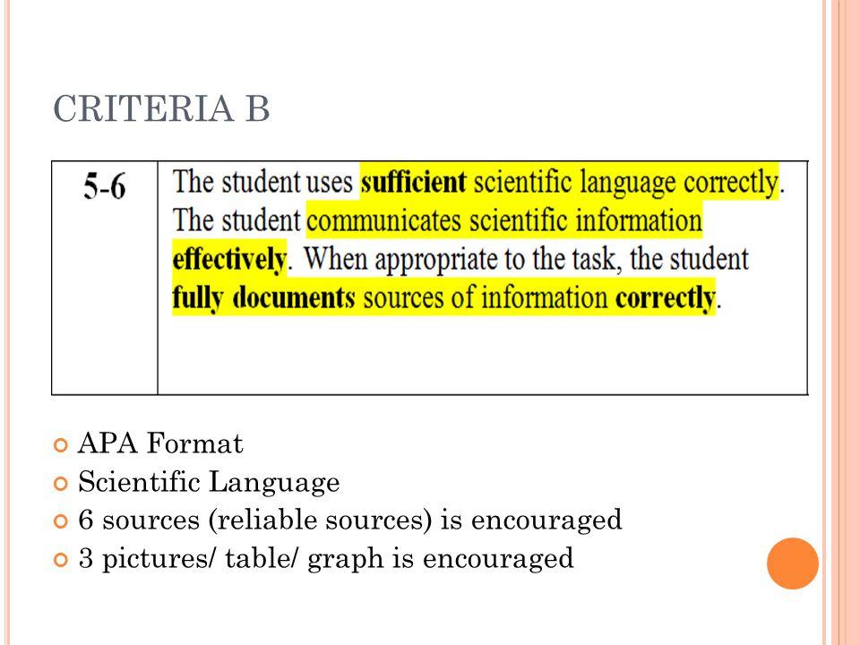 CRITERIA B APA Format Scientific Language