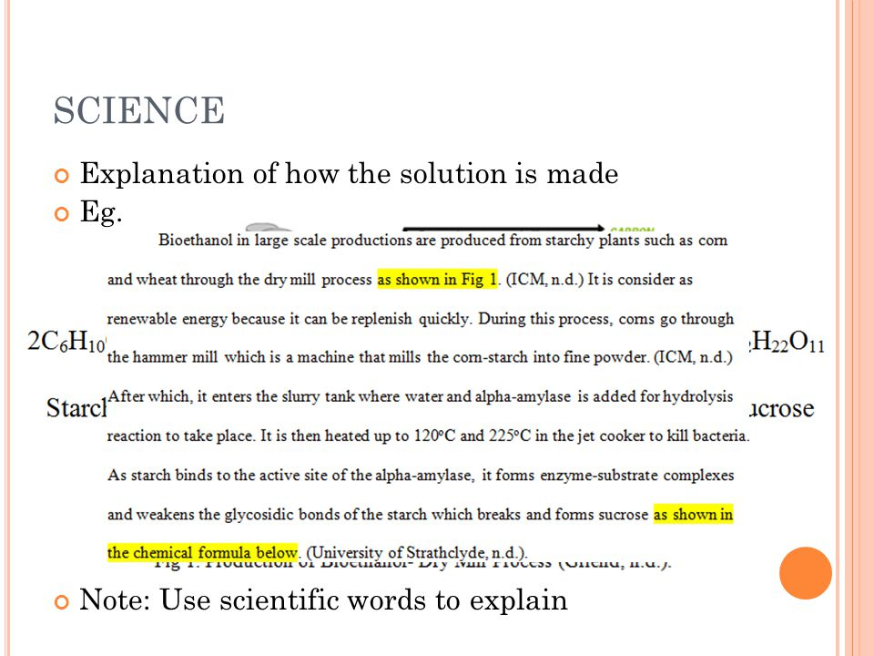SCIENCE Explanation of how the solution is made Eg.