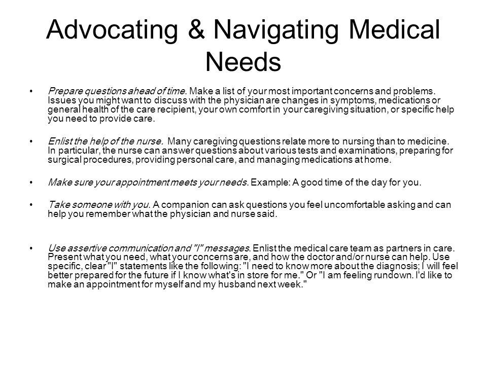 Advocating & Navigating Medical Needs