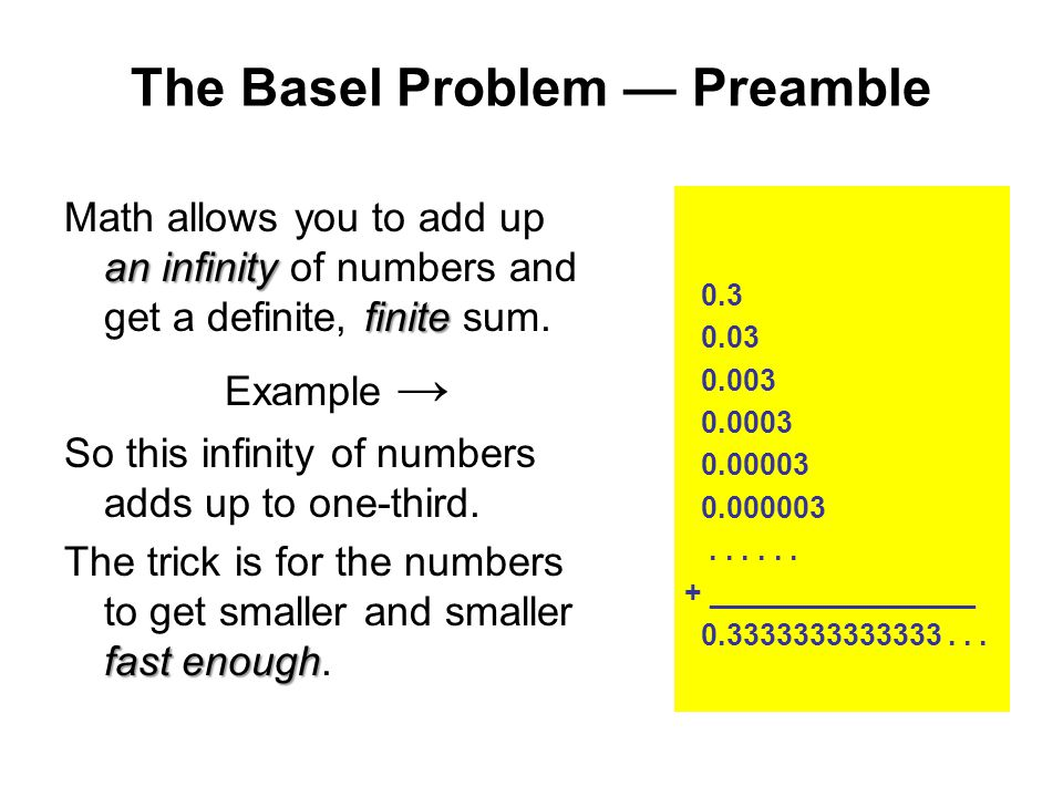 The Basel Problem — Preamble