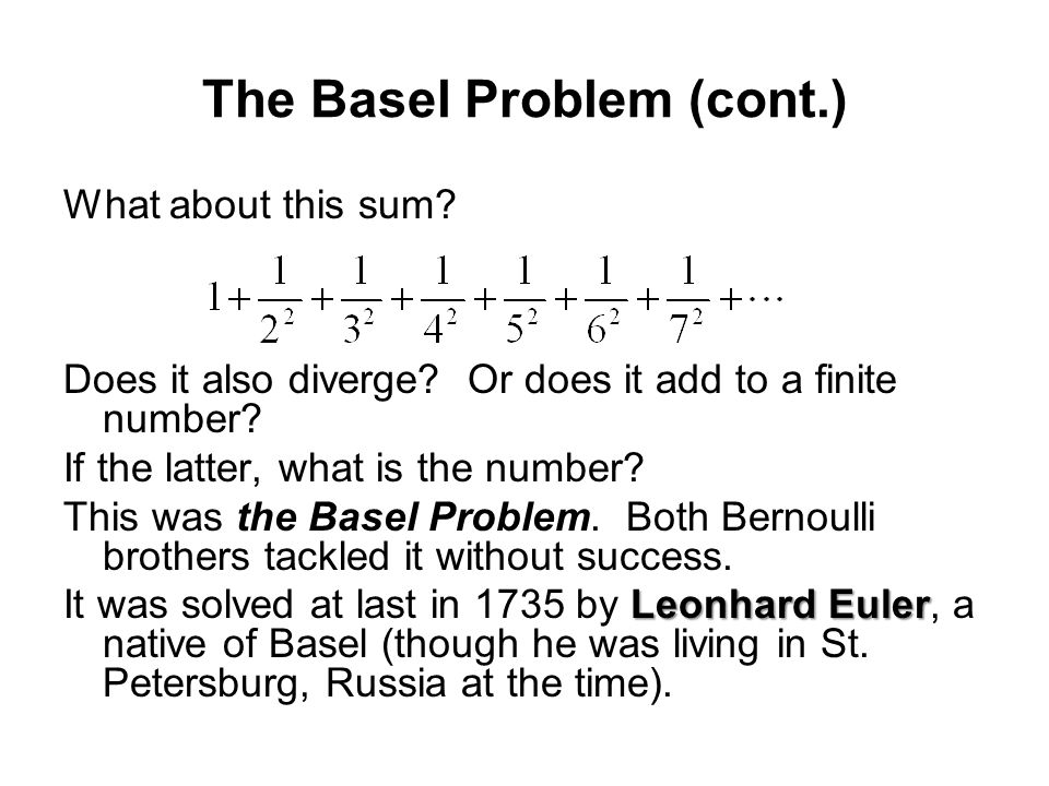 The Basel Problem (cont.)