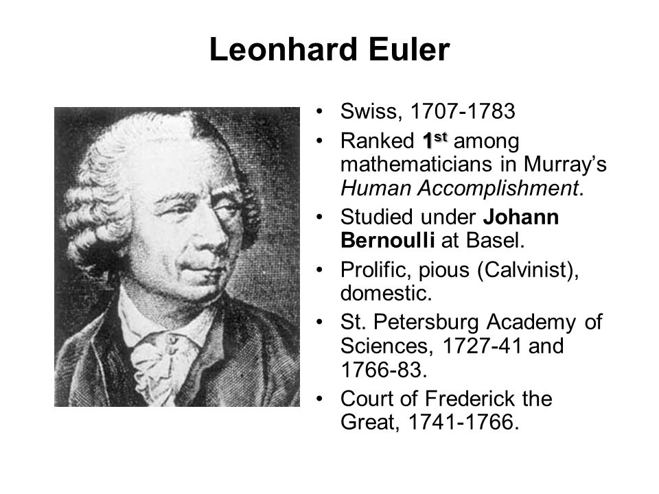 Leonhard Euler Swiss, 1707-1783. Ranked 1st among mathematicians in Murray's Human Accomplishment.