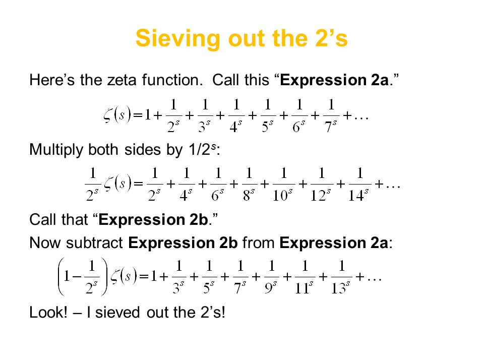Sieving out the 2's Here's the zeta function. Call this Expression 2a. Multiply both sides by 1/2s: