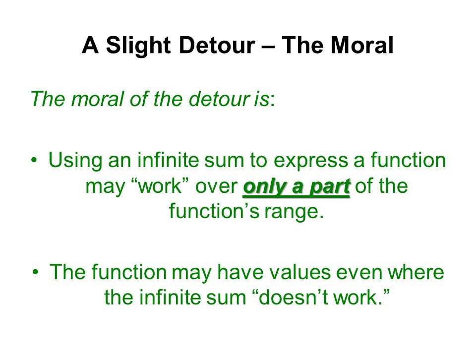 A Slight Detour – The Moral