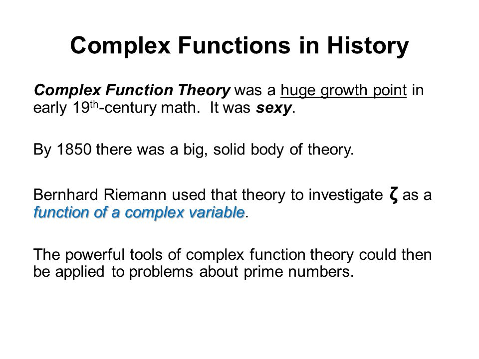 Complex Functions in History