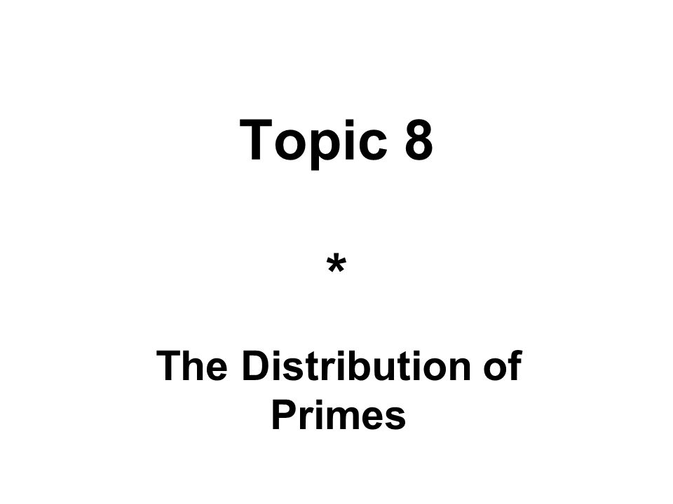 The Distribution of Primes