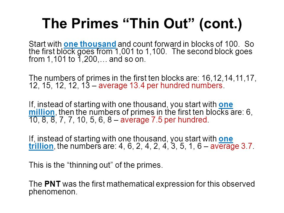 The Primes Thin Out (cont.)