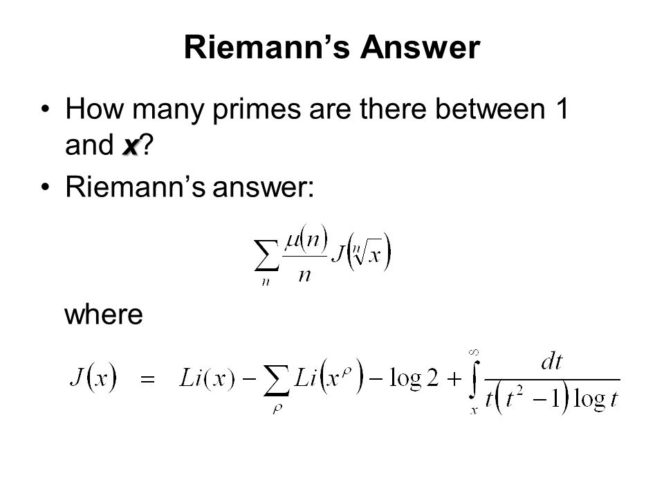 Riemann's Answer How many primes are there between 1 and x