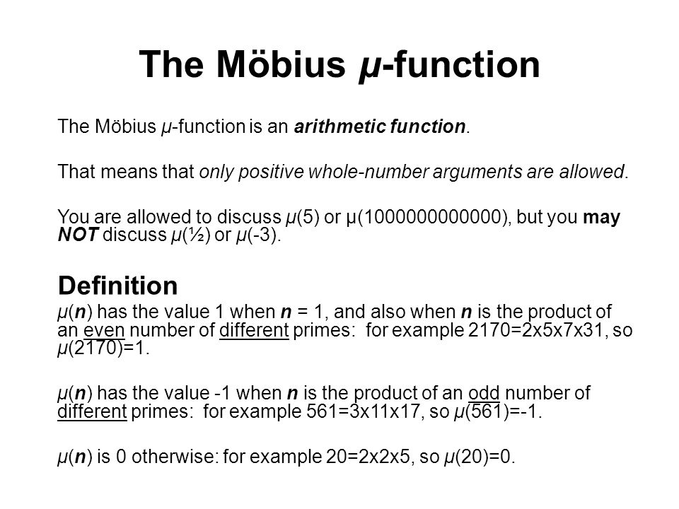 The Möbius μ-function Definition