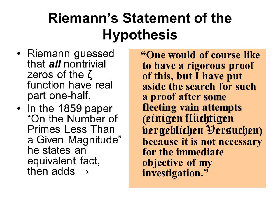 Riemann's Statement of the Hypothesis