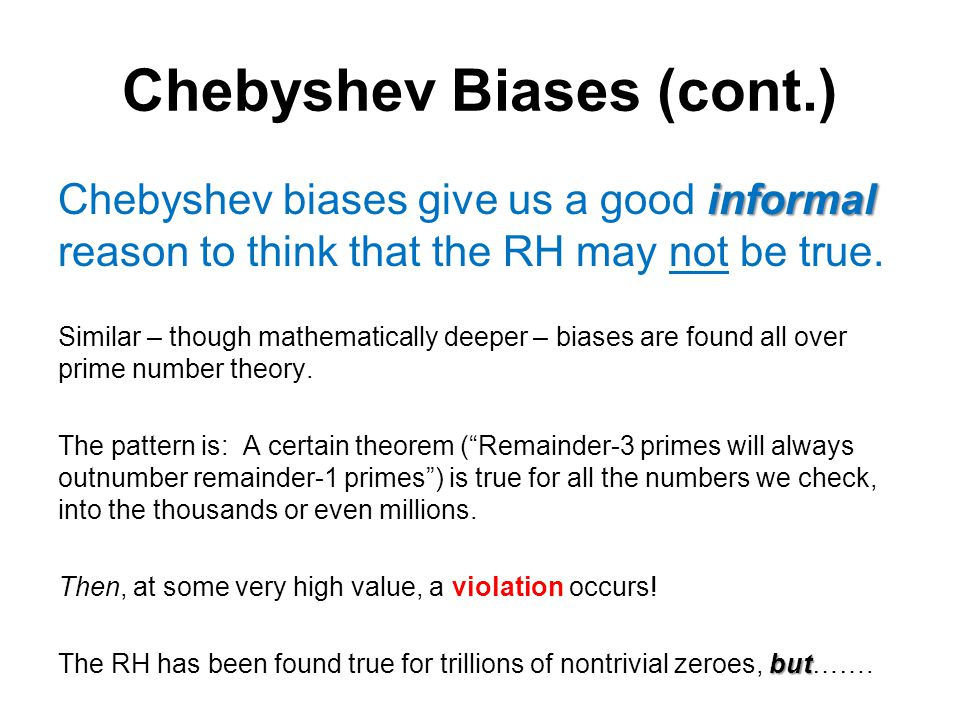 Chebyshev Biases (cont.)