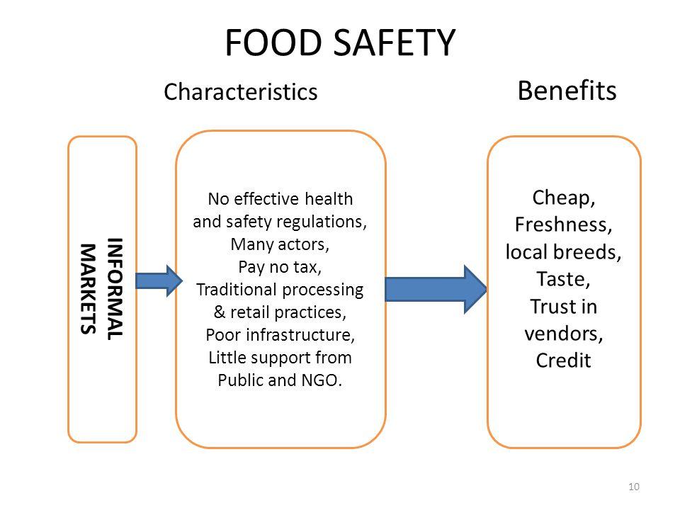 FOOD SAFETY Characteristics Benefits Cheap, Freshness, INFORMAL