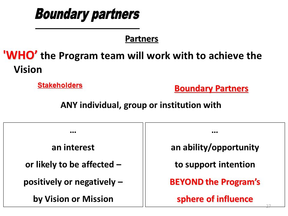 Boundary partners Partners. WHO' the Program team will work with to achieve the Vision. ANY individual, group or institution with.