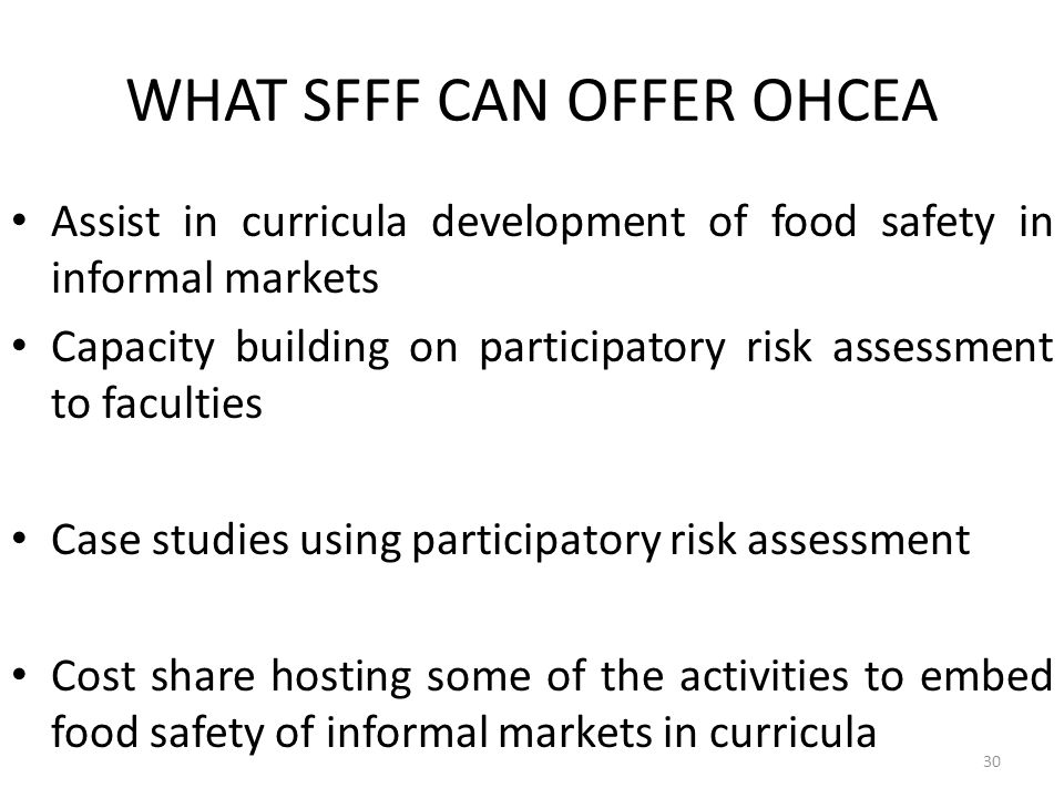 WHAT SFFF CAN OFFER OHCEA
