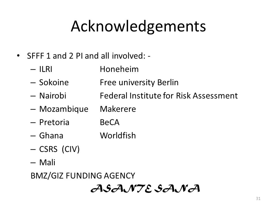 Acknowledgements SFFF 1 and 2 PI and all involved: - ILRI Honeheim