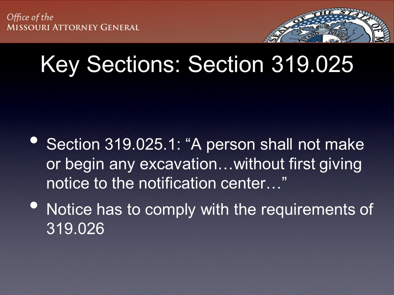 Key Sections: Section 319.025