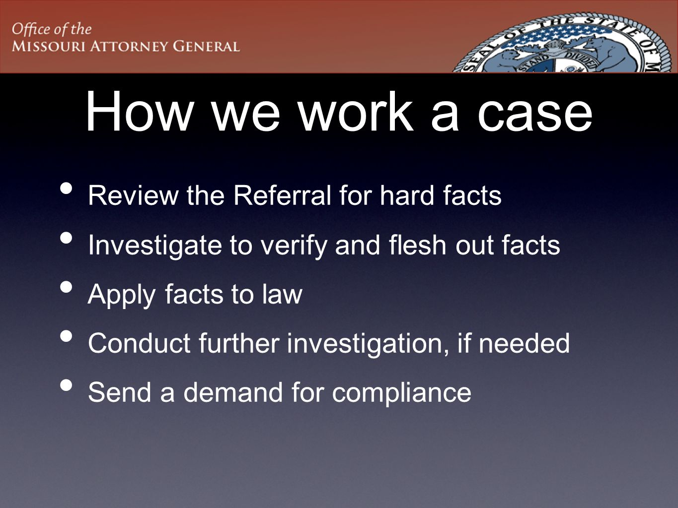 How we work a case Review the Referral for hard facts