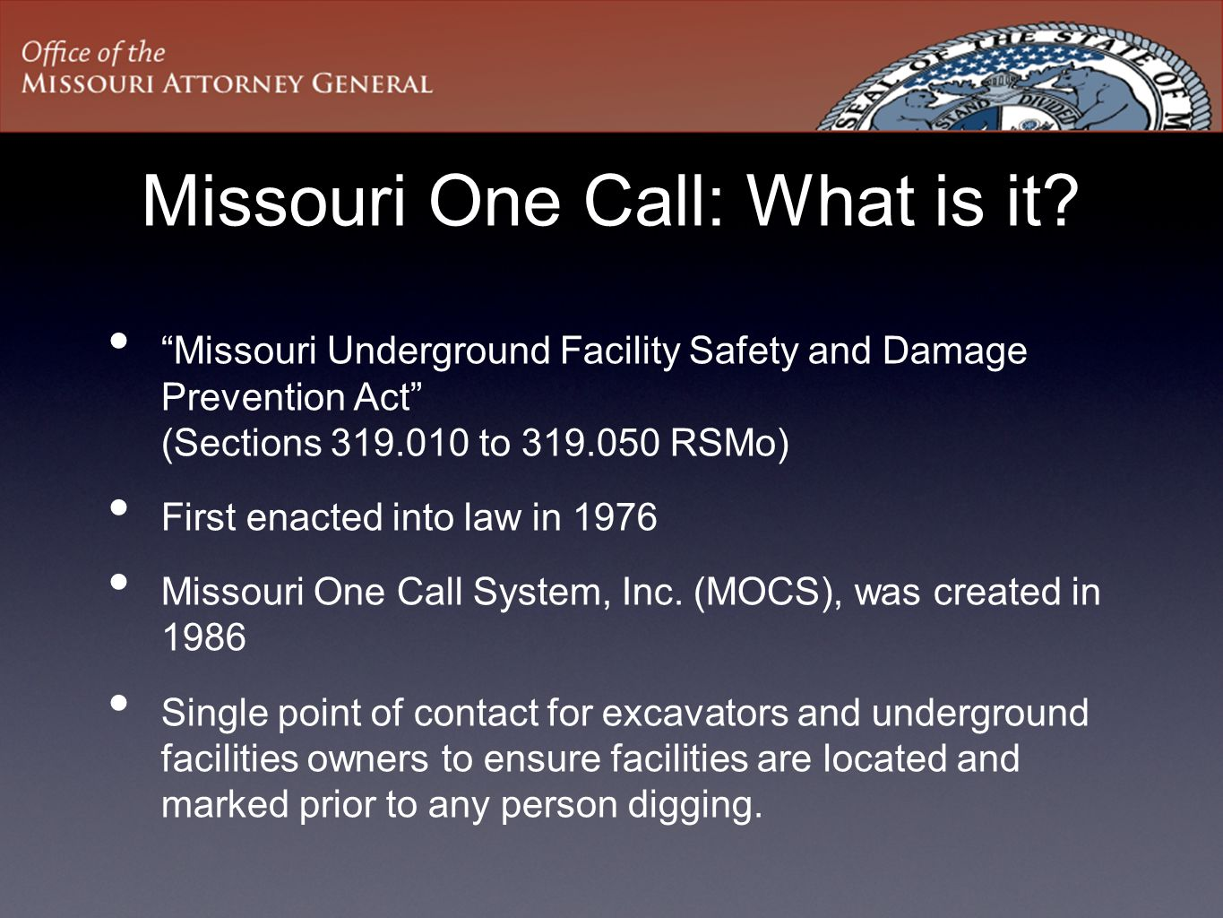 Missouri One Call: What is it