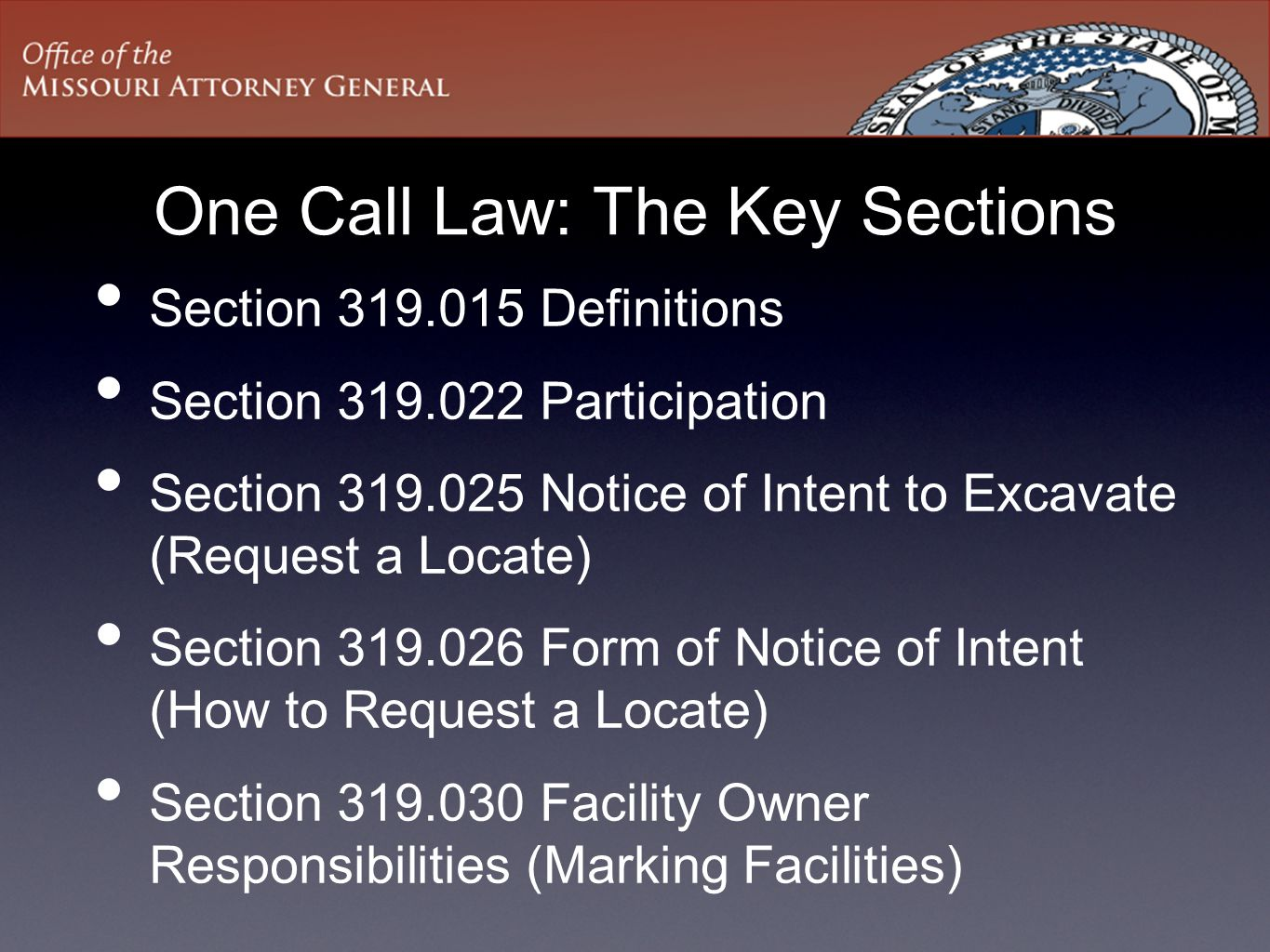 One Call Law: The Key Sections
